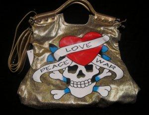 Skull Crossbones Tattoo Gold Handbag