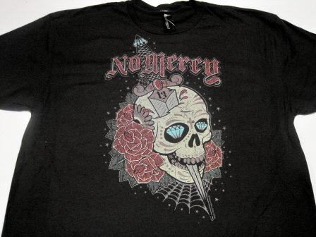 Skull Tattoo No Mercy Tee Size Large