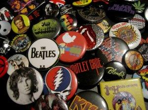 Rock Button Pin Set of 5 Random Mix