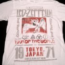 Led Zeppelin Tokyo Japan 71 Tour White Tshirt Size X-Large