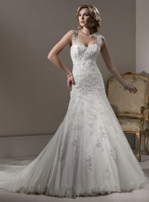 Detachable strap swarovski crystals wedding dress 2011 EC6