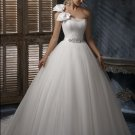 fashion tulle one shoulder rhinestone designer wedding dresses 2011 EC19
