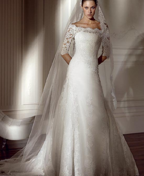 latest style lace long sleeve wedding dress 2011 EC106