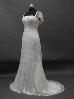 Free shipping capsleeve lace wedding gown ER33