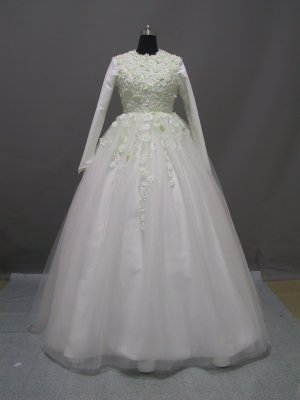 Free shipping long sleeve and high neckline wedding dress ER38
