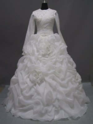 Free shipping long sleeve and high neckline wedding dress ER41