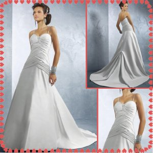 Free shipping riffle spaghetti wedding dresses 2011 EC225