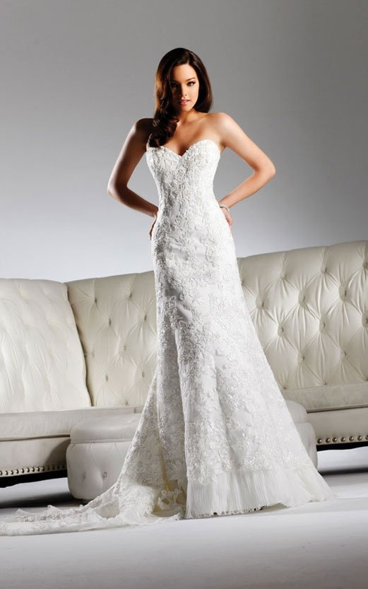 Free shipping new model lace wedding gown EC313