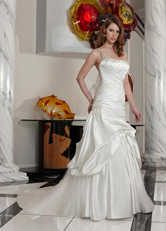 Free shipping the latest  one strap swarovski wedding dresses EC341