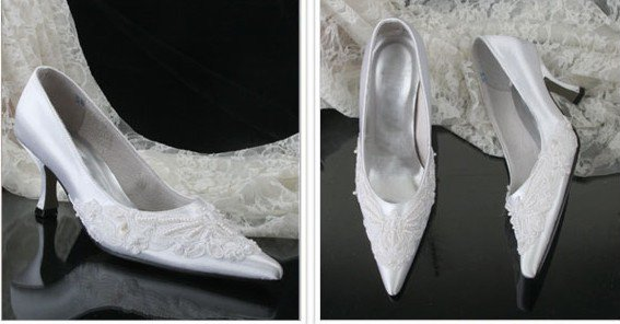 swarovski crystals and lace bridal shoes S028