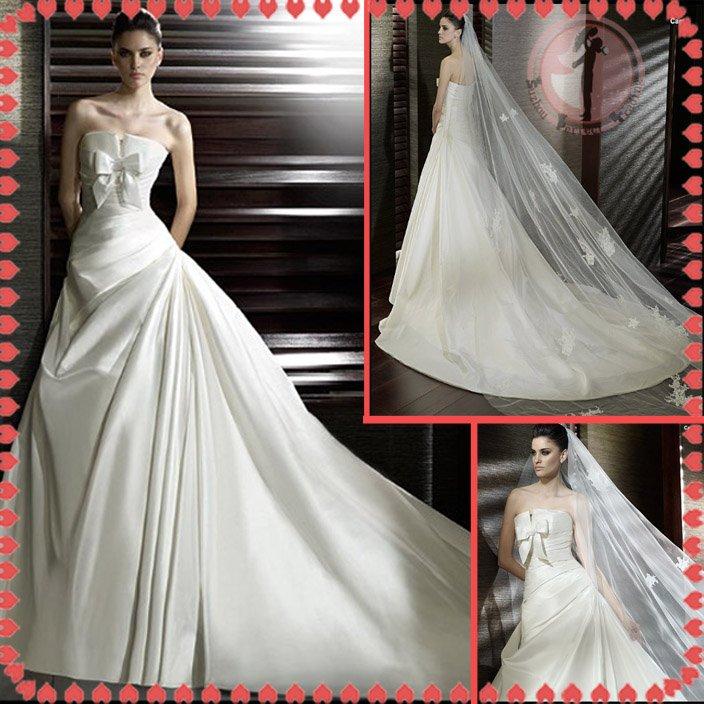 Free shipping ruffle satin wedding dress 2012 EC374