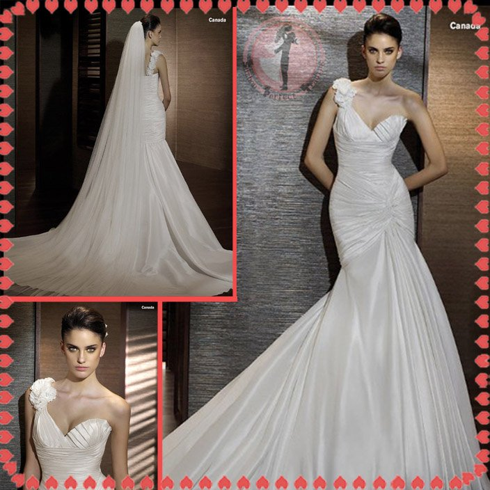 Free shipping one shoulder wedding dress 2012 EC377