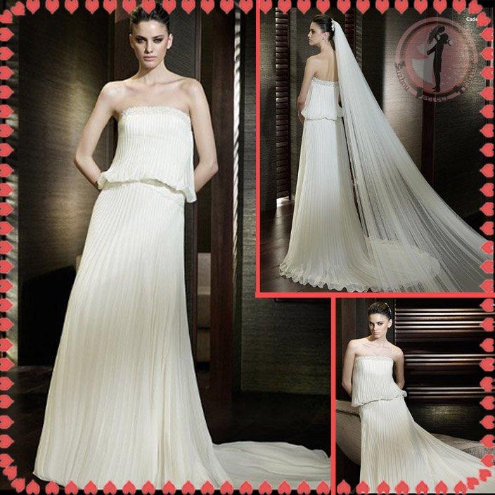 Free shipping ruffle chiffon wedding dress 2012 EC376