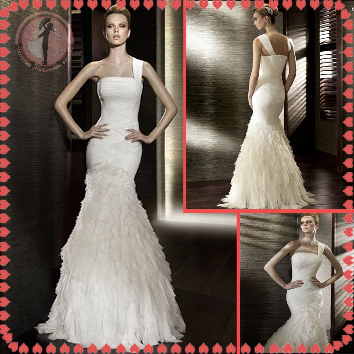 Free shipping the most popular one shoulder wedding dress 2012 EC383