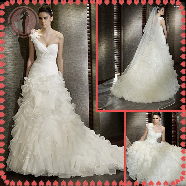 Free shipping the most popular one shoulder wedding dress 2012 EC384
