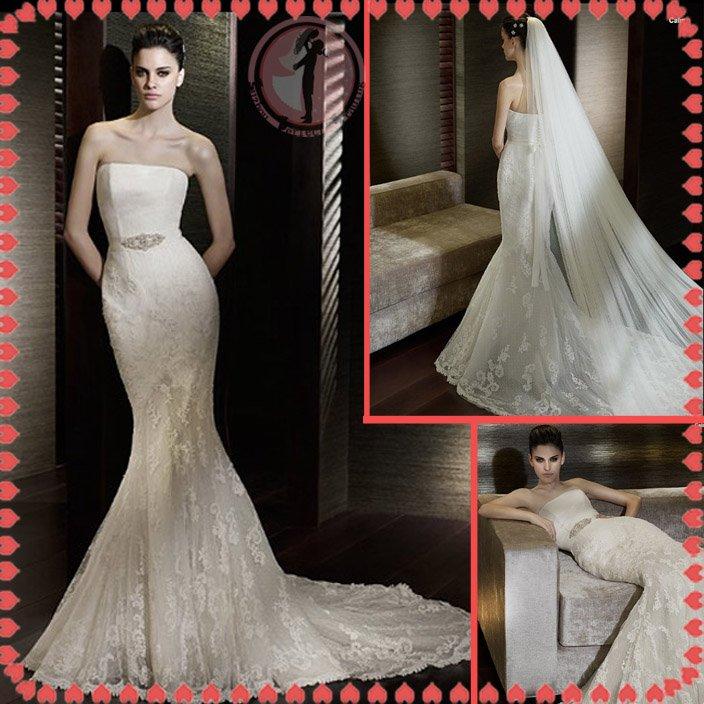 2012 bridal silver satin lace wedding dress EC399