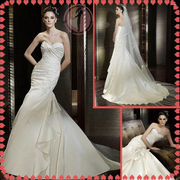 2012 bridal silver satin wedding dress EC400
