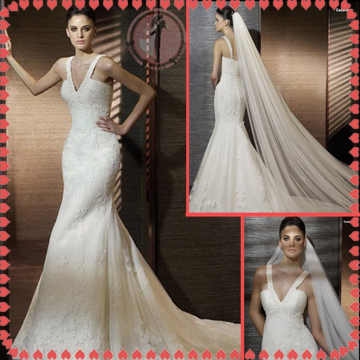 2012 new style off shoulder lace silver satin wedding dress EC402