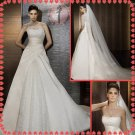 2012 new style off shoulder lace silver satin wedding dress EC401