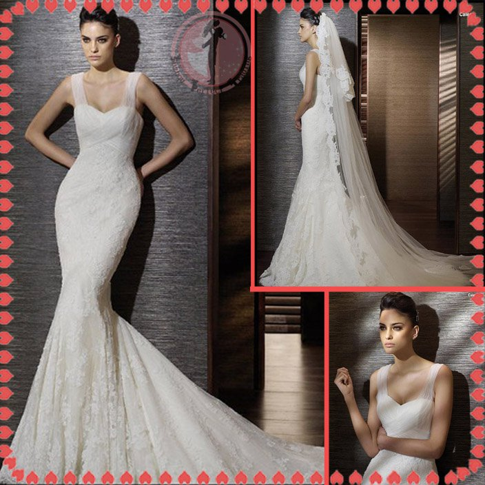 2012 new style silver satin high quality lace wedding dress EC405