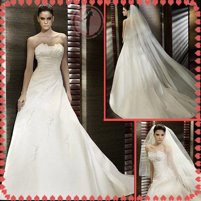 2012 new style silver satin wedding dress EC407