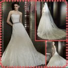 2012 new style silver satin lace wedding dress EC411