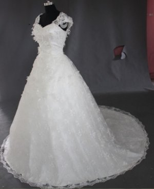 2013 new fashion stylish capsleeve lace swarovski wedding dress EC462