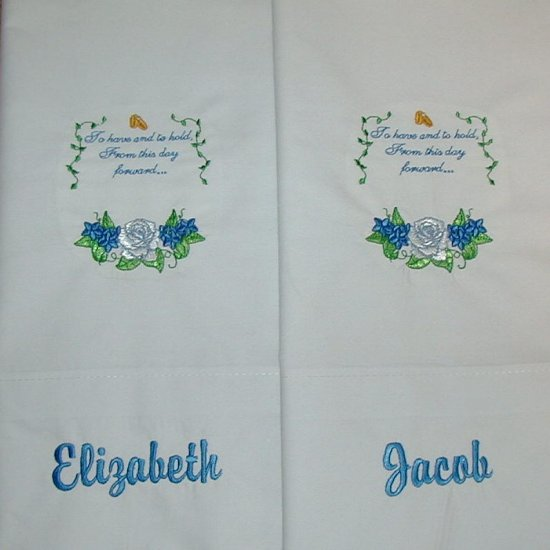 Set of 2 Personalized Embroidered Pillowcases - Great Wedding Gift