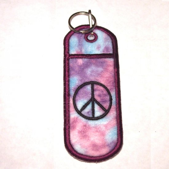 Peace Embroidered lipbalm holder keychain