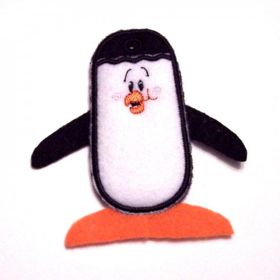 Embroidered Penguin Lipbalm, Lifesavers or USB Drive Holder Key Chain