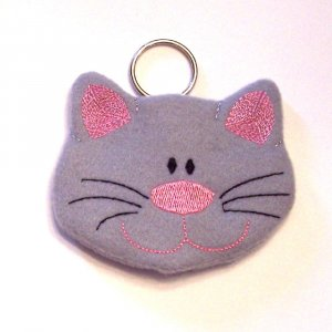 Embroidered Kitty Coin Pouch Keychain
