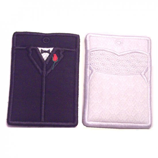 Embroidered Bride and Groom Gift Card or Business card Holder Key chain