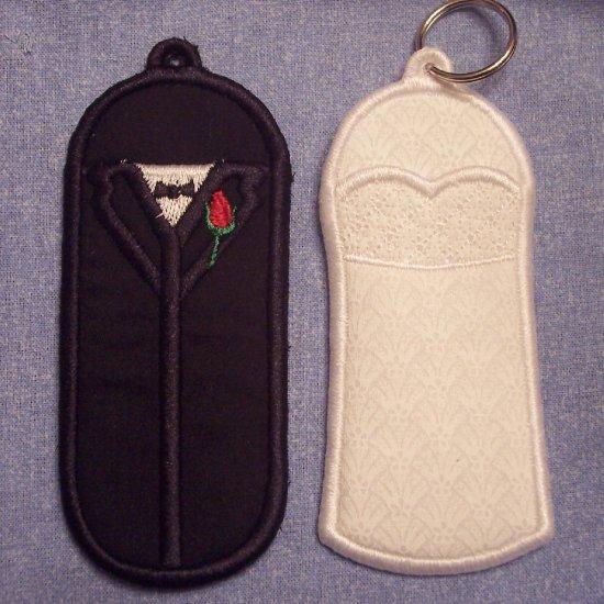 Bride and Groom Lip Balm, USB, or Lighter holder keychains