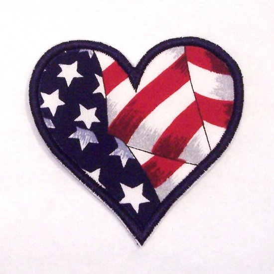 American flag heart patch