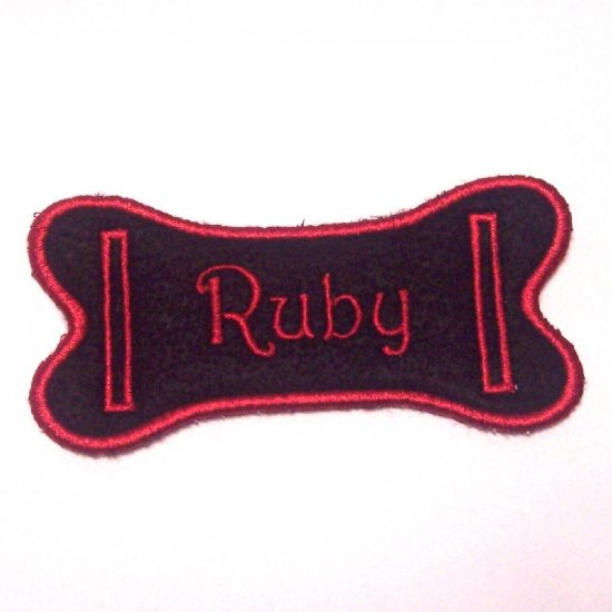 Embroidered Bone Dog Collar Slide