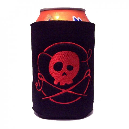 Skull and Crossed Needles Embroidered Can Koozie