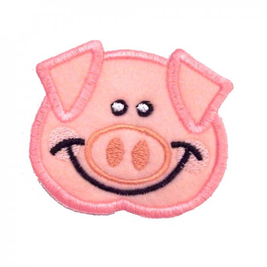 EMBROIDERED BABY PIG FACE PATCH