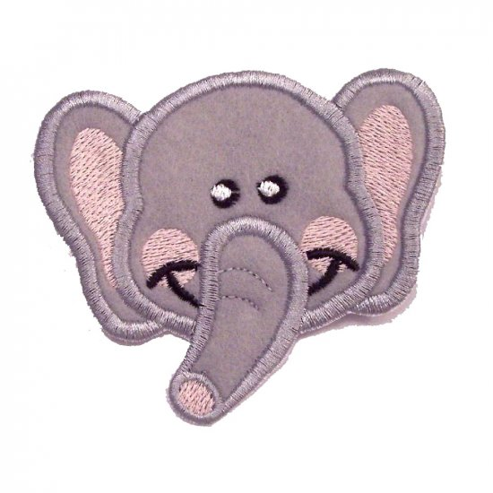 EMBROIDERED BABY ELEPHANT FACE PATCH