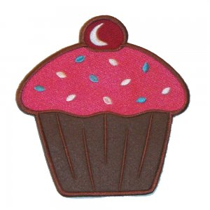 6 inch Iron on Embroidered Cupcake Patch