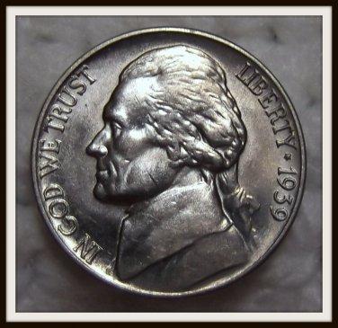 1939 5C BU Jefferson Nickel