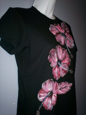 Black/ Pink Hibiscus Hand Painted T- Shirt
