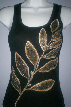 Black/Gold Leaf Design Tank Top