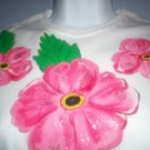 White Hibiscus Design Hand Painted T Shirt