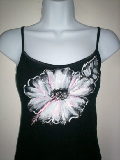 Hand Painted Hibiscus Flower Black Camisole