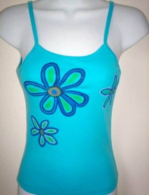 Tropical Flowers Turquoise Tank Top