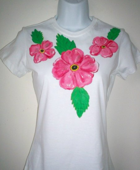 Hand Painted Hibiscus Flowers White TShirt