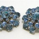 Vintage Round AB Rhinestones Clip Earrings Signed Triad
