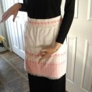 Vintage Pink/White Hostess Half Apron Hand Woven Fabric