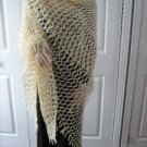 Vintage Long Warm Cream Hand Made Shawl MUST SEE