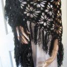 Vintage Black Hand Made Shawl MUST SEE